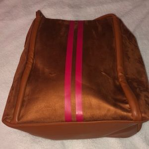 NWT- Brown suede bag with two red stripes
